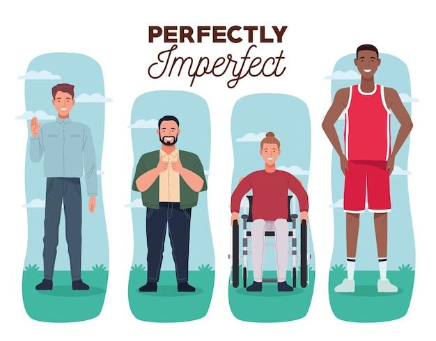 Pessoas perfeitamente imperfeitas agrupam personagens com fundo branco