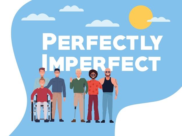 Pessoas perfeitamente imperfeitas agrupam personagens com fundo do céu