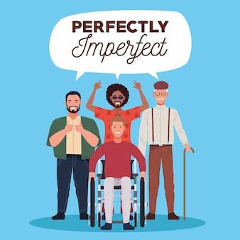 Pessoas perfeitamente imperfeitas agrupam personagens com letras em um balão de fala
