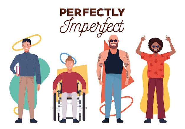 Pessoas perfeitamente imperfeitas agrupam personagens e figuras geométricas de fundo