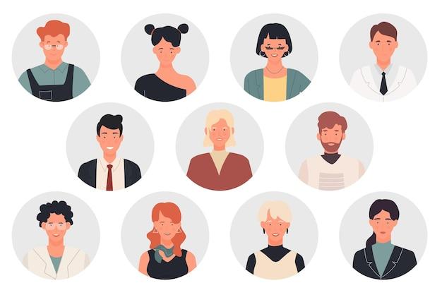 Pessoas perfilam avatares de diferentes profissões homem mulher profissional retratos de trabalhadores