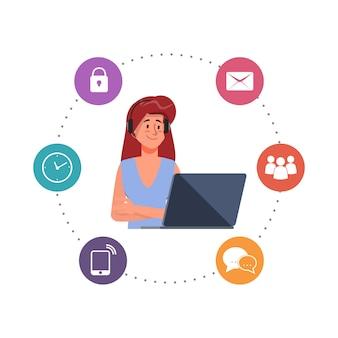 Pessoas personagem trabalhando com um laptop e call center personagem ilustração em vetor plana.