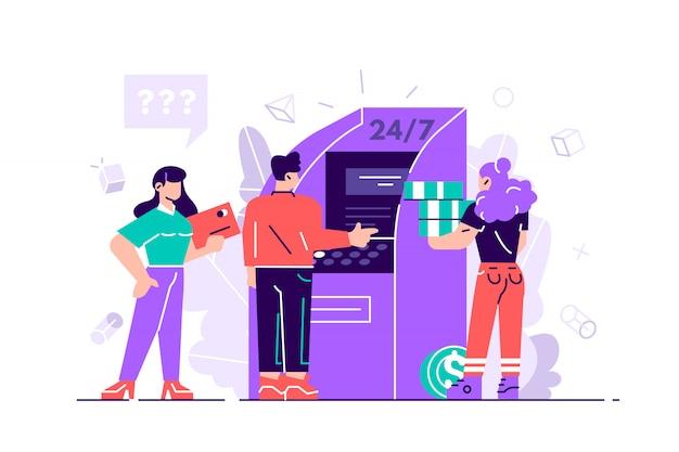 Pessoas perto de caixa eletrônico, assistente feminina, ajudando os clientes