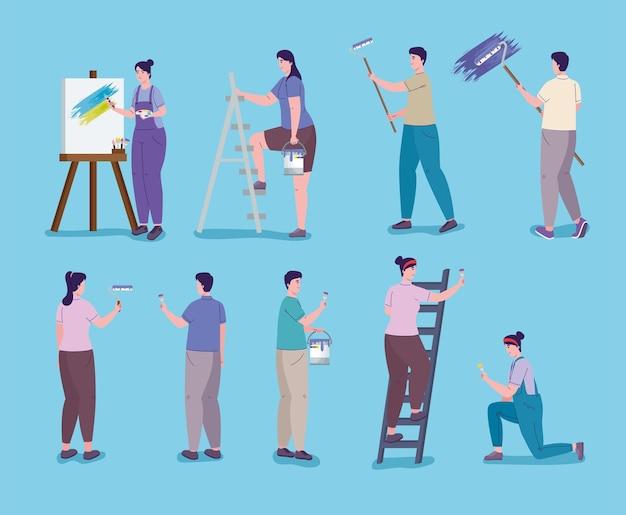 Pessoas pintando em diferentes poses