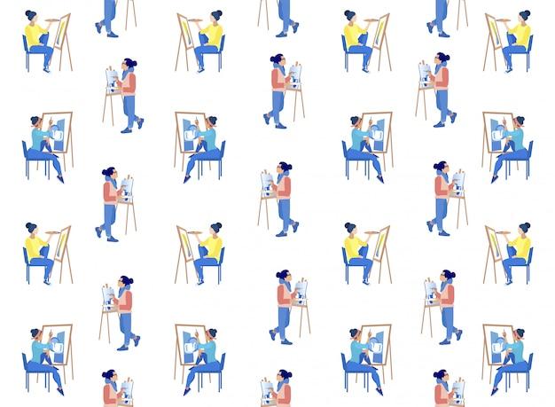 Pessoas pintando sobre tela no cavalete com paleta.