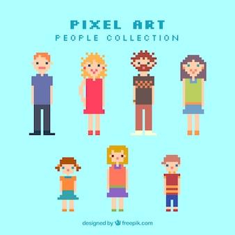 Pessoas pixelizada de coleta de idades diferentes