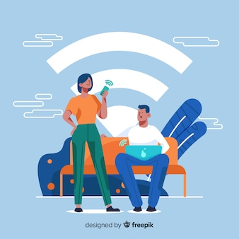 Pessoas planas com fundo de sinal de wifi