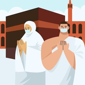 Pessoas planas com máscara médica em ilustração de peregrinação hajj