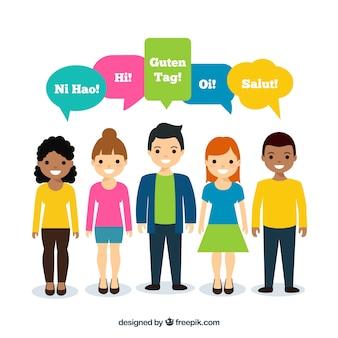 Pessoas planas com palavras em diferentes idiomas