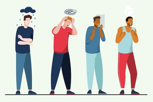 Pessoas planas com problemas de saúde mental
