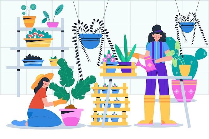 Pessoas planas cuidando da coleta de plantas