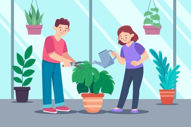 Pessoas planas cuidando das plantas