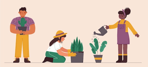 Pessoas planas cuidando de plantas dentro de casa