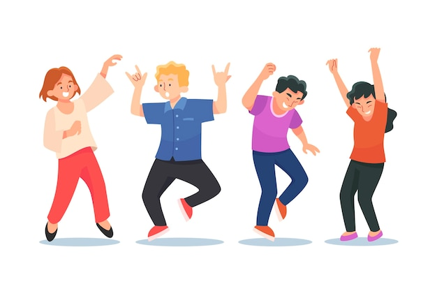 Pessoas planas dançando juntas