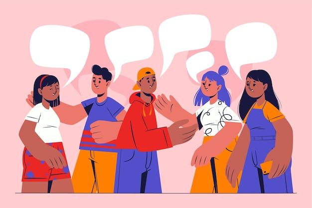 Pessoas planas desenhadas à mão conversando Vetor grátis