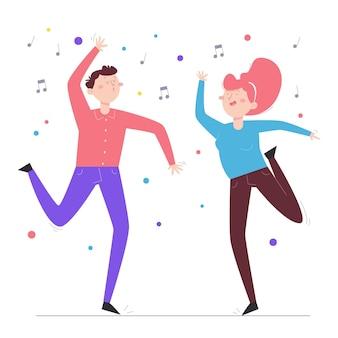 Pessoas planas desenhadas à mão dançando
