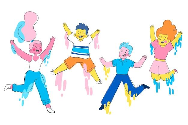 Pessoas planas desenhadas à mão pulando