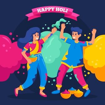 Pessoas planas e detalhadas celebrando a ilustração do festival de holi