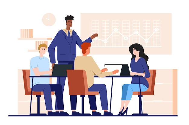 Pessoas planas em treinamento empresarial ilustrado