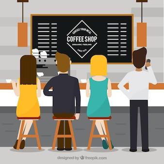 Pessoas planas em uma cafeteria