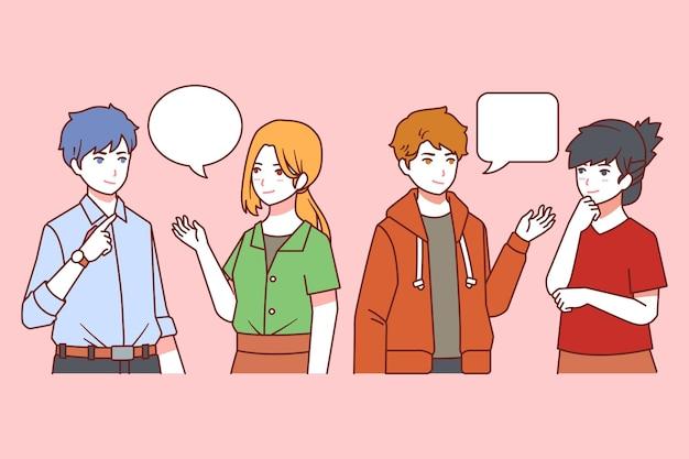 Pessoas planas falando de ilustração