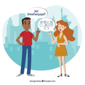 Pessoas planas falando línguas diferentes