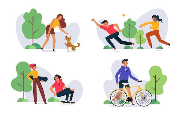 Pessoas planas fazendo atividades ao ar livre