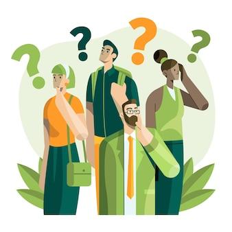 Pessoas planas fazendo perguntas ilustradas