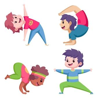 Pessoas planas fazendo yoga