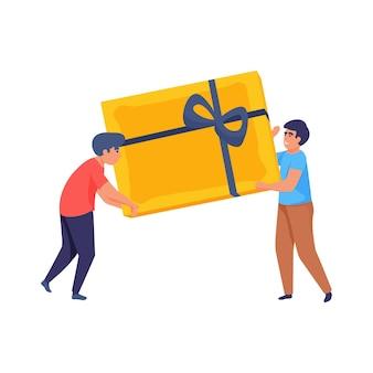 Pessoas planas felizes carregando uma grande ilustração de uma caixa de presente embrulhada