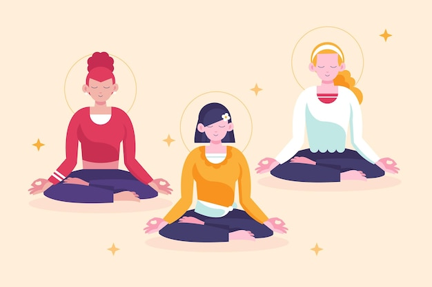Pessoas planas meditando ilustração