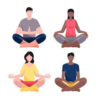 Pessoas planas meditando ilustradas
