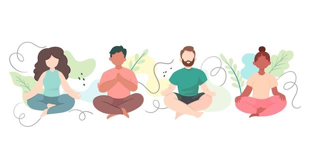 Pessoas planas meditando