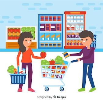 Pessoas planas no supermercado