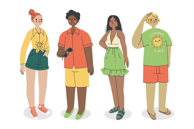 Pessoas planas orgânicas com coleção de roupas de verão