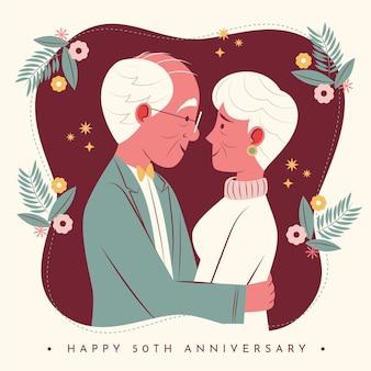 Pessoas planas orgânicas comemorando aniversário de casamento de ouro