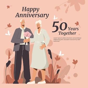 Pessoas planas orgânicas comemorando bodas de ouro