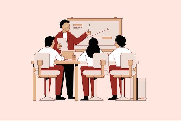 Pessoas planas orgânicas em ilustração de treinamento empresarial