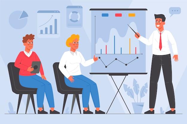 Pessoas planas orgânicas em treinamento empresarial ilustrado