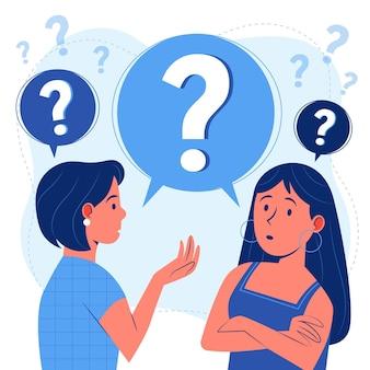 Pessoas planas orgânicas fazendo perguntas
