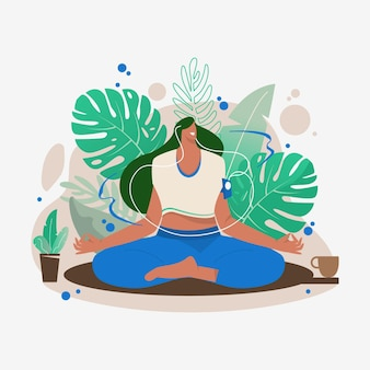 Pessoas planas orgânicas meditando ilustração