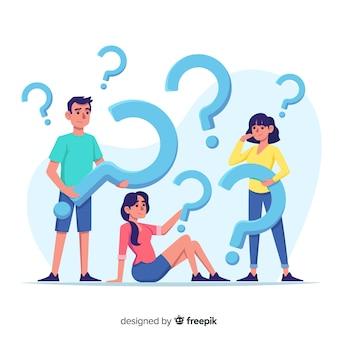Pessoas planas segurando pontos de interrogação