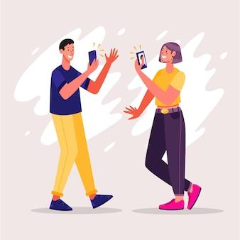 Pessoas planas tirando fotos com smartphone