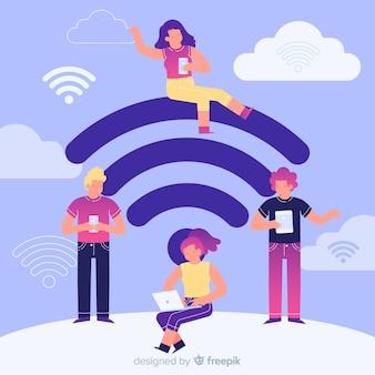 Pessoas planas usando rede sem fio