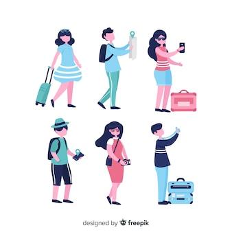 Pessoas planas viajando em diferentes situações