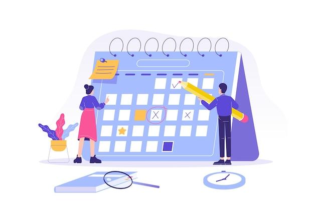 Pessoas planejando a programação em um calendário