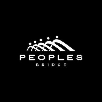 Pessoas ponte grupo cinco 5 comunidade família conexão equipe trabalho construção logotipo ícone ilustração vetorial