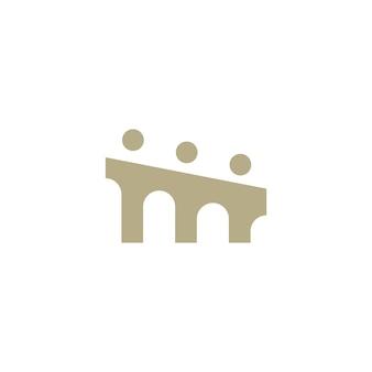 Pessoas ponte grupo três 3 comunidade família conexão trabalho em equipe construção logotipo ícone ilustração vetorial
