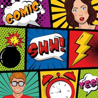 Pessoas pop art comic relógio crash boom texto retro