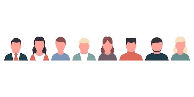 Pessoas portraite conceito conjunto de ícones